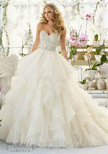 gorgeous cascading ruffle white wedding dresses with beads With cascading ruffles wedding dress