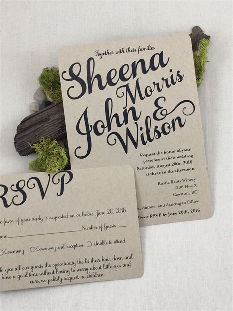 Rustic Script Kraft Paper 5×7 Wedding Invitation with RSVP