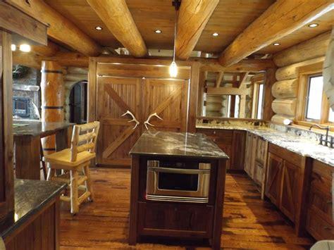 custom log cabin kitchen  bath fine homebuilding