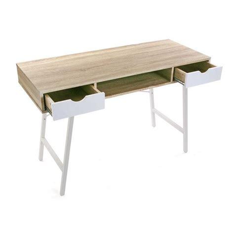 table bureau bois table de bureau scandinave bois et metal blanc versa