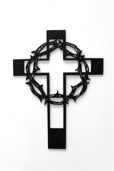 Small Crown of Thorns Metal Cross by RillaBee on Etsy | CNC Plasma Ideal's | Cross art, The
