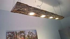 Baumstamm An Decke Befestigen : led decken holz lampe rustikal 120cm 4x 7w massivholz neu ~ Lizthompson.info Haus und Dekorationen