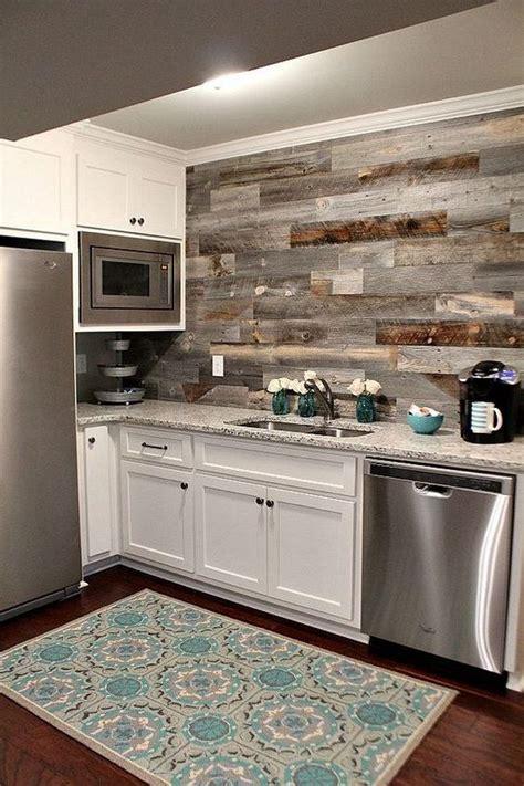 basement kitchen   diy weathered wood backsplash