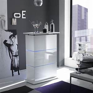 Bar De Salon Moderne : bar de salon design blanc laqu avec clairage led en option ~ Teatrodelosmanantiales.com Idées de Décoration