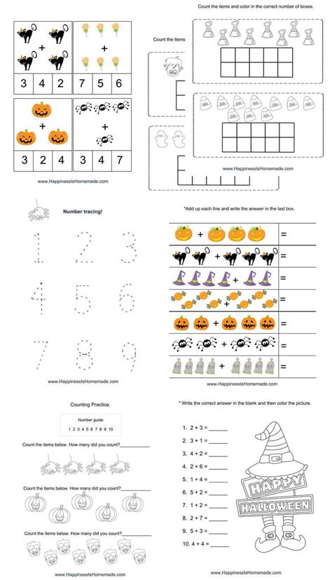 super cute printable halloween math pack features