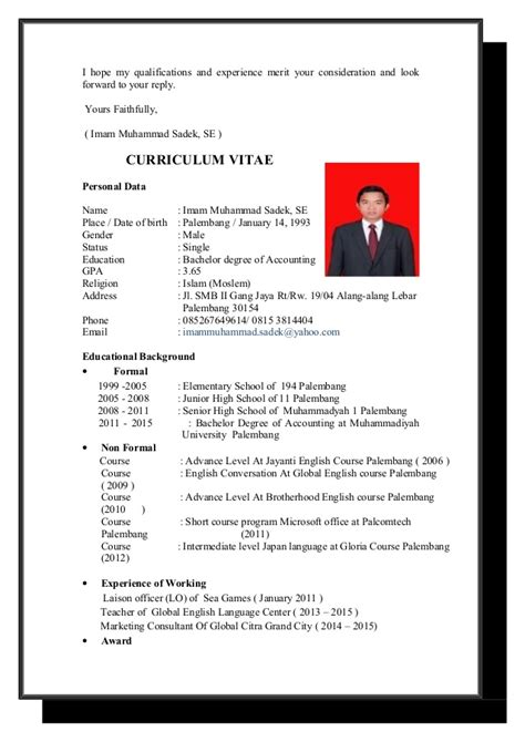 Application Letter With Curriculum Vitae application letter and cv terbaru