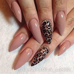 Nude and prints stiletto nails | Nails | Pinterest | Pink ...