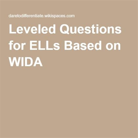 leveled questions  ells based  wida  images