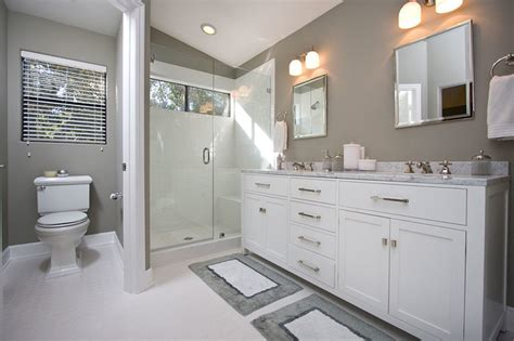 Contemporary Gray & White Bathroom Remodel