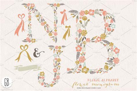 flower monogram floral letters njb illustrations creative market