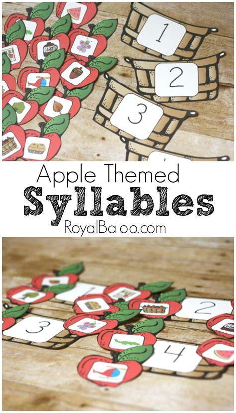apple syllable sorting game  printable royal baloo
