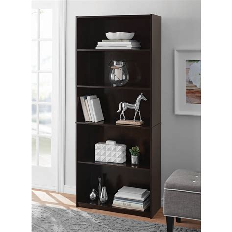 Bookshelf 29 High by Adjustable 5 Shelf Wood Bookcase Storage Shelving Book