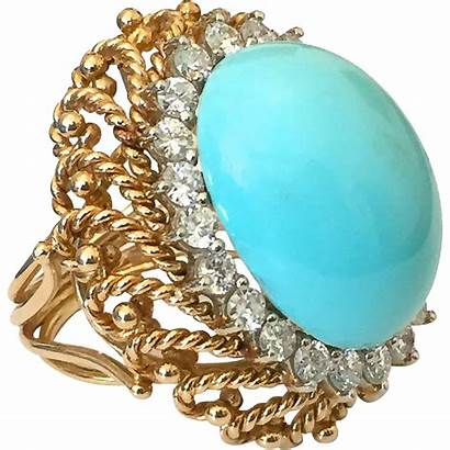 Turquoise Ring Gold Cocktail Diamond Rings Jewelry
