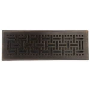 shop allen roth wicker rubbed bronze steel floor register opening 14 in x 4 in