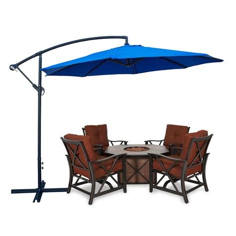 blue color patio umbrella offset 10 ft feet hanging