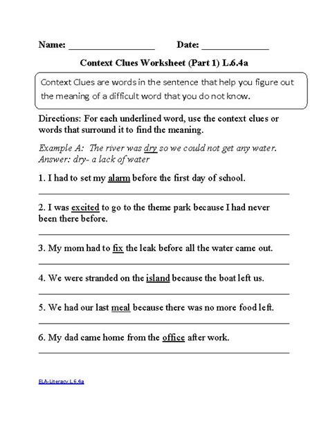 6th Grade Common Core  Language Worksheets  Englishlinxcom Board  Pinterest  Context Clues