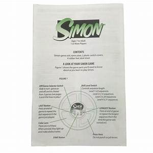 Simon Electronic Game 1997 Replacement Rules Instructions