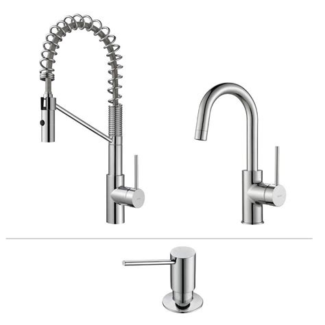 commercial style kitchen faucets kraus oletto single handle commercial style kitchen faucet and bar faucet with soap dispenser in