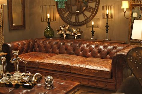 Extra Deep Chesterfield Sofa In Antique Brown Finish Plus