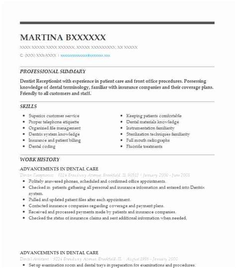 Front Desk Resume Sle by Dental Office Receptionist Resume Bijeefopijburg Nl