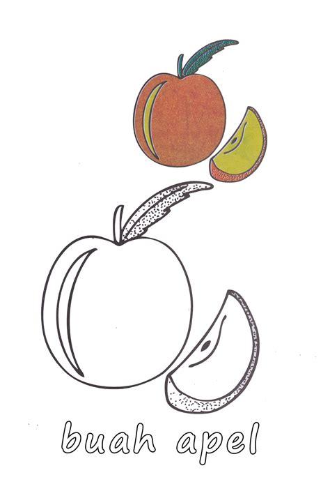 gambar mewarnai buah apel dan mangga untuk anak paud dan tk