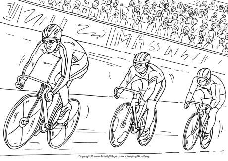 track cycling colouring page