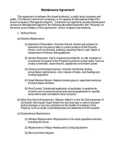 service contract template maintenance agreement templates 8 free word pdf format free premium templates