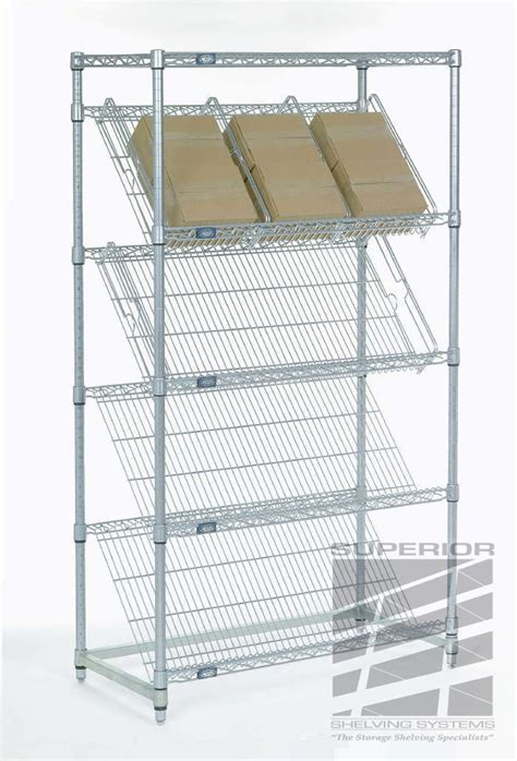 slanted shelf displays nexel superior shelving