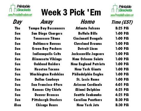 Office Football Pool Week 3 by Nfl Em Week 3 Pro Football Em Week 3