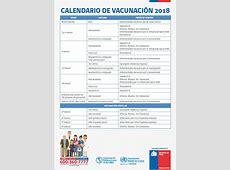 MINSAL PUBLICA EL CALENDARIO DE VACUNACIÓN 2018 QUE