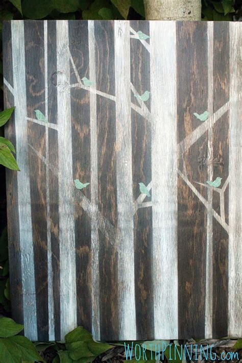 worth pinning birds  trees painting  stained wood