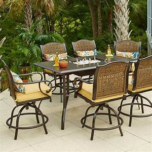 hampton bay vichy springs 7 piece patio high dining set With home depot high patio furniture