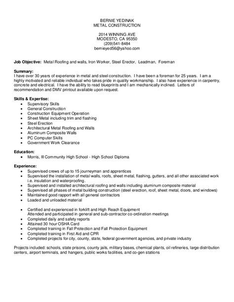 Metal Roofer Resume by Bernie Yedinak Resume 2014 Microsoft Office