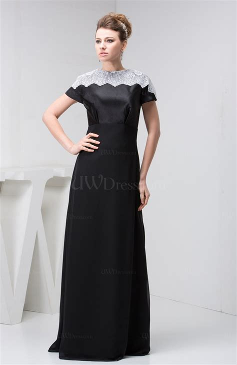 Black With Sleeves Bridesmaid Dress Lace Traditional Semi