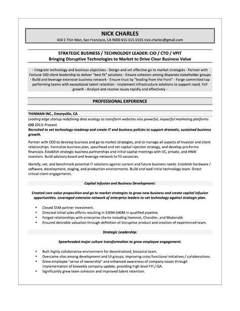 Cio Resume Cover Letter by Sles Quantum Tech Resumes