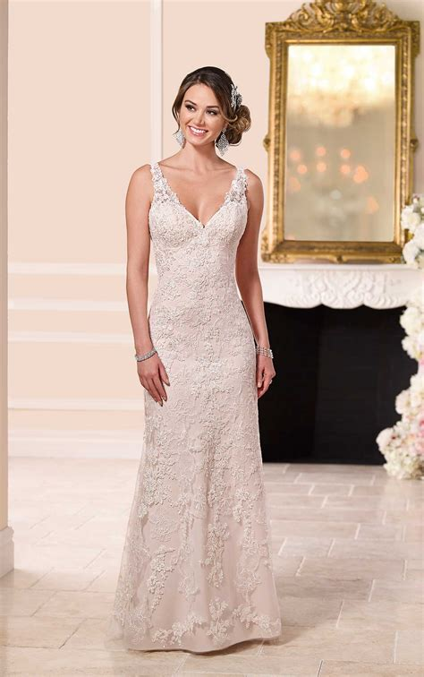 lace  satin sheath wedding dress stella york
