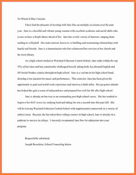 letter of recommendation for high school student fresh letter of recommendation for high school student 9929