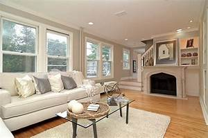 Grey/Gray And White Living Room With Marble Fireplace ...
