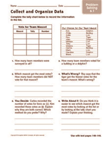 collect and organize data problems solving worksheet for