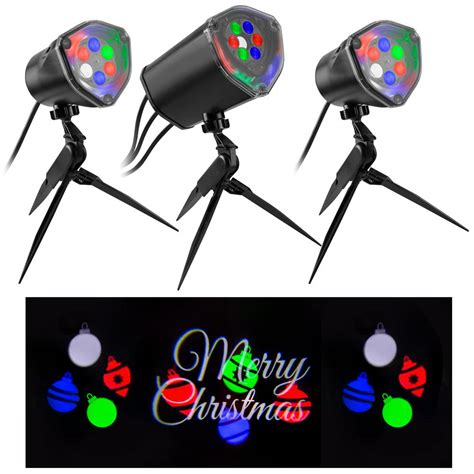 merry christmas projection 3 pc merry light projector multi color sound projection decor set ebay