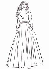Gown Ball Coloring Pages Printable Dress Supercoloring sketch template