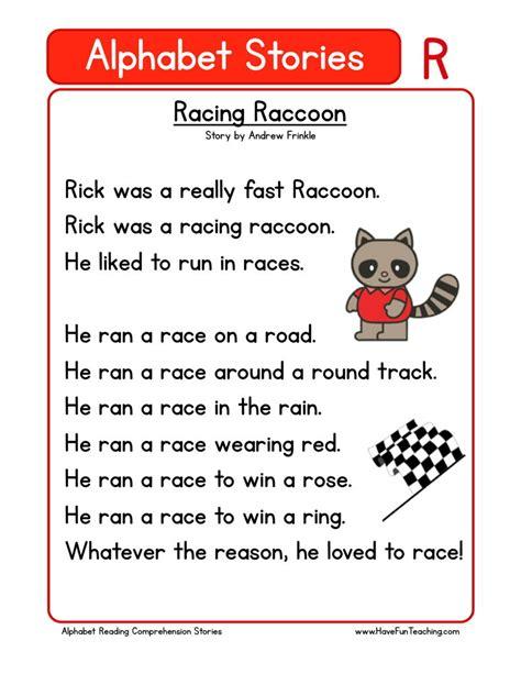 Reading Comprehension Worksheet  Racing Raccoon
