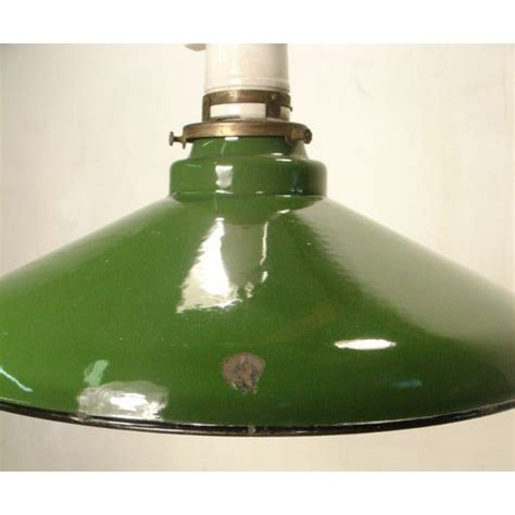 hanging ceiling factory lamp vintage green porcelain