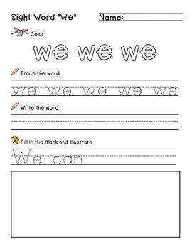 all worksheets 187 sight word we worksheets for kindergarten