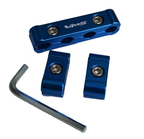 3pc blue billet aluminum spark wires cables separators dividers organizers holders