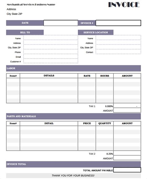 hvac invoice examples samples  google docs
