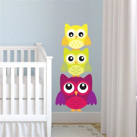 3 Stacked Owl Wall Decals Wall Decal World