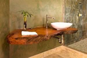 salle de bains en bois 30 idees pour un espace tout confort With vasque en bois salle de bain