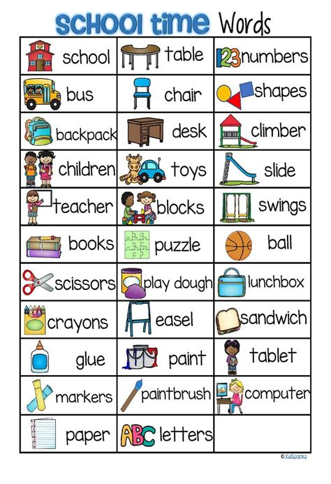 school vocabulary list  words  pictures