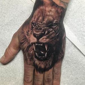 Cool Lion Tattoo On hand